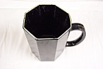 Click here to enlarge image and see more about item GBL008: Octagon Shaped Black Glass Mug