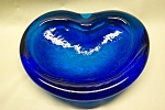 Vintage Cobalt Blue Art Glass Shallow Bowl/Dish