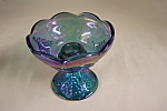 Click here to enlarge image and see more about item GCH0003: Purple Carnival Glass Grape Panel Candle Holder