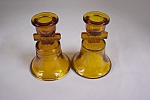 American Bicentennial Amber Glass Candle Holders