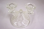 Click to view larger image of Vintage Pressed Crystal Glass Double Candle Holder (Image1)