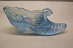 FENTON Light Blue Carnival Glass Lady's Slipper