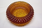 Click to view larger image of FENTON Round Amber Hobnail Art Glass Salter (Image1)