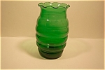 Click here to enlarge image and see more about item GFK006: FireKing/Anchor Hocking Forest Green Vase
