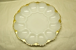 Click here to enlarge image and see more about item GFK160: FIRE-KING Milk Glass Gilt Trimmed Egg Plate