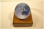Blue Satin Glass With Polished Continents