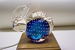 Click here to enlarge image and see more about item GPW026: Cased Blue Glass Rabbit Paperweight