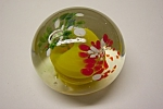 Nice abstract floral design paperweight with multi-color glass encased in crystal glass.  2-1/2 inches in diameter and 1-1/2 inches tall.  Unsigned and circa unknown.  Possible Texas Glass Company , B...