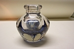 Abstract Blue Glass Cased Ink Bottle Paperweight