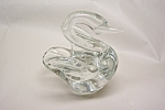 Pilgrim Crystal Controlled Bubble Swan Paperweight