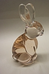 Click to view larger image of SILVESTRE Pink-Tinted Glass Rabbit Paperweight (Image1)
