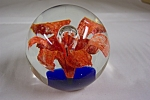 Orange Flower  Glass Paperweight