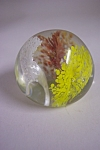 Pretty abstract floral glass paperweight with a white, yellow and orange abstract flower that has a large controlled bubble in each center.  1-3/4 inches tall and 2-1/4 inches in diameter.  Brownwood ...