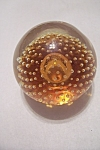 Cased Amber Glass & Controlled Bubble Paperweight