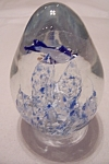 Elongated Glass Paperweight With Blue Fish