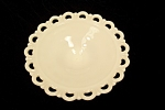 Open Work Milk Glass Footed Fruit Bowl
