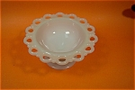 Open Lace Work Milk Glass Pedestal Bowl