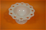 Click to view larger image of Open Lace Work  Milk Glass Pedestal Bowl (Image1)