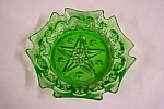 Vintage Green Glass Star Pattern Ash Tray