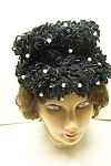 Click here to enlarge image and see more about item VWCH0005: Black Crochet Hat With Faux Pearl Decorations