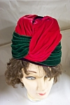 Click here to enlarge image and see more about item VWCH0010: Red, Green, & Purple Velvet Pillbox Style Hat