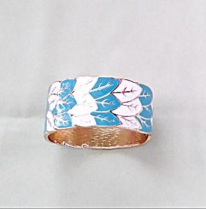 White and Aqua Enamel Cuff Bracelet Gorgeous! (Image1)