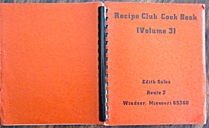 Recipe Club Cookbook (Vol. 3) Edith Soles 1970