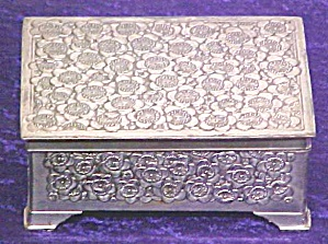 Silverplate Jewerly Box Footed Floral Ornate (Image1)