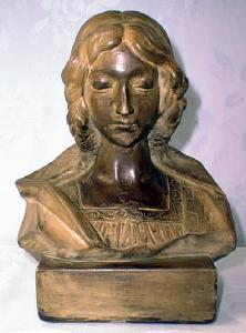 Chalkware Bust Medieval Lady Signed (Image1)