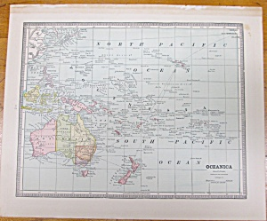 Antique Map Oceania Australia Crams 1883