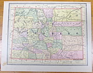 Antique Map New Mexico Colorado Crams 1883