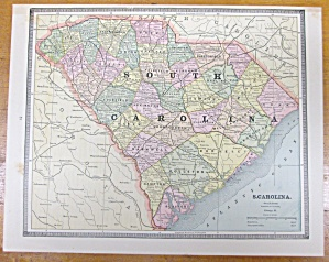 Antique Map South Carolina Georgia Crams 1883