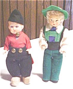 Dutch Boy Dolls Ethnic Wood Shoes Miniature 2 PC (Image1)