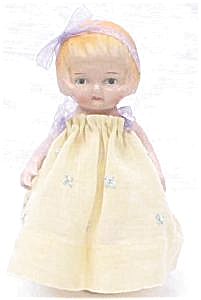 Miniature Bisque Doll Vintage Dress (Image1)