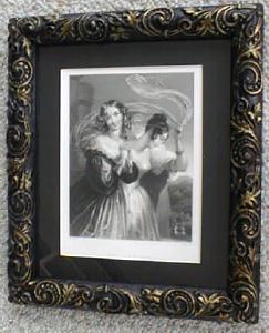 Engraving Lady with Veil Ornate Frame 1890's (Image1)