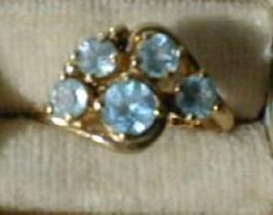 Lovely Sky Blue Topaz Cluster Ring 14 kt (Image1)