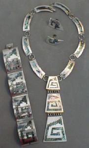 Silver MOP Necklace Bracelet & Earrings Sterling (Image1)
