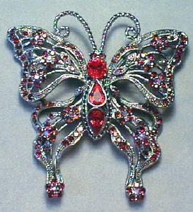 Large Rhinestone Butterfly Brooch Exquisite Colors (Image1)