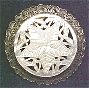 Mother of Pearl Sterling Carved Brooch Pendan (Image1)
