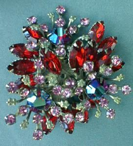 Exquisite Red Floral Spray Rhinestone Brooch Vintage (Image1)