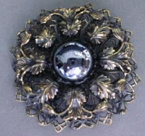 Brooch Pin Unusual Ornate Large Stone
