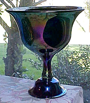 Fenton Favrene Compote Signed 1976 Art Glass