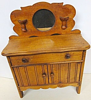 Folk Art Wash Stand Miniature Wood Large Doll Size