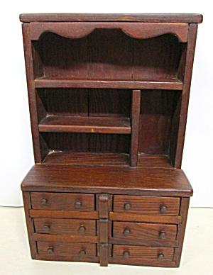 Folk Art Kitchen Cabinet Miniature Wood Medium Doll Size (Image1)