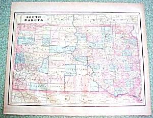 Antique Map South Dakota Kansas 1894 (Image1)