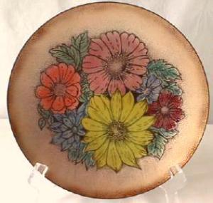 Enamel on Copper Floral Plate + Dish (Image1)