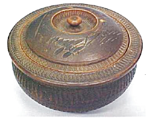 Miniature Carved Box  Round  Ornate Old (Image1)
