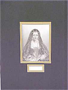 Lady Jane Engraving 1840's Ornate Frame Drummond (Image1)