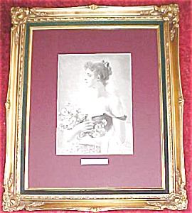 Lady with Flowers 1880's Germany Engraving Ornate Frame (Image1)