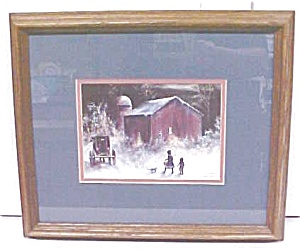 Amish Winter Barn Children Koenig Print 1992 (Image1)